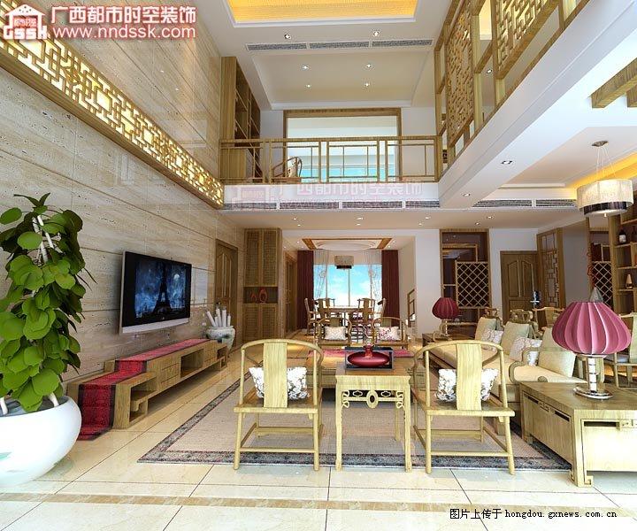 恒大苹果园三层楼中楼装修设计案例效果图-客厅全景-南宁装饰案例 恒