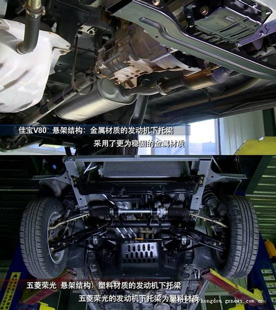 五菱荣光PK佳宝V80 拆车对比无码高清围观
