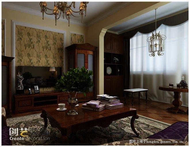 【中房新天地装修效果图,四居室装修,美式风格,客厅装修效果图】