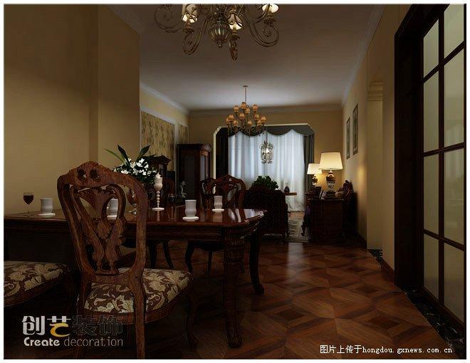 【中房新天地装修效果图,四居室装修,美式风格,餐厅装修效果图】