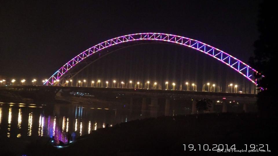 南湖公园永和大桥夜景
