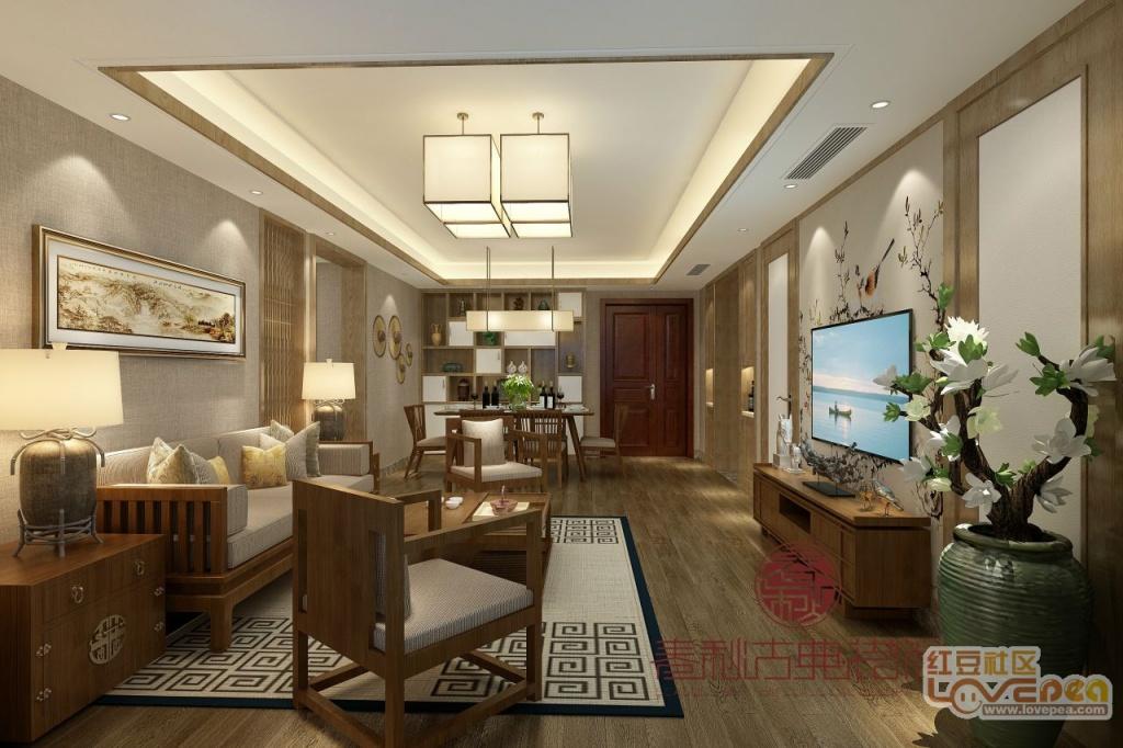 绍兴中式装修│中式客厅装饰效果图