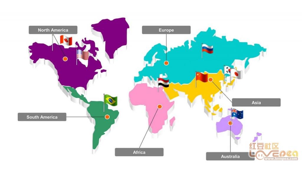 1 荧光创意世界地图PPT图表模板 -PPT图表之地图图表模板