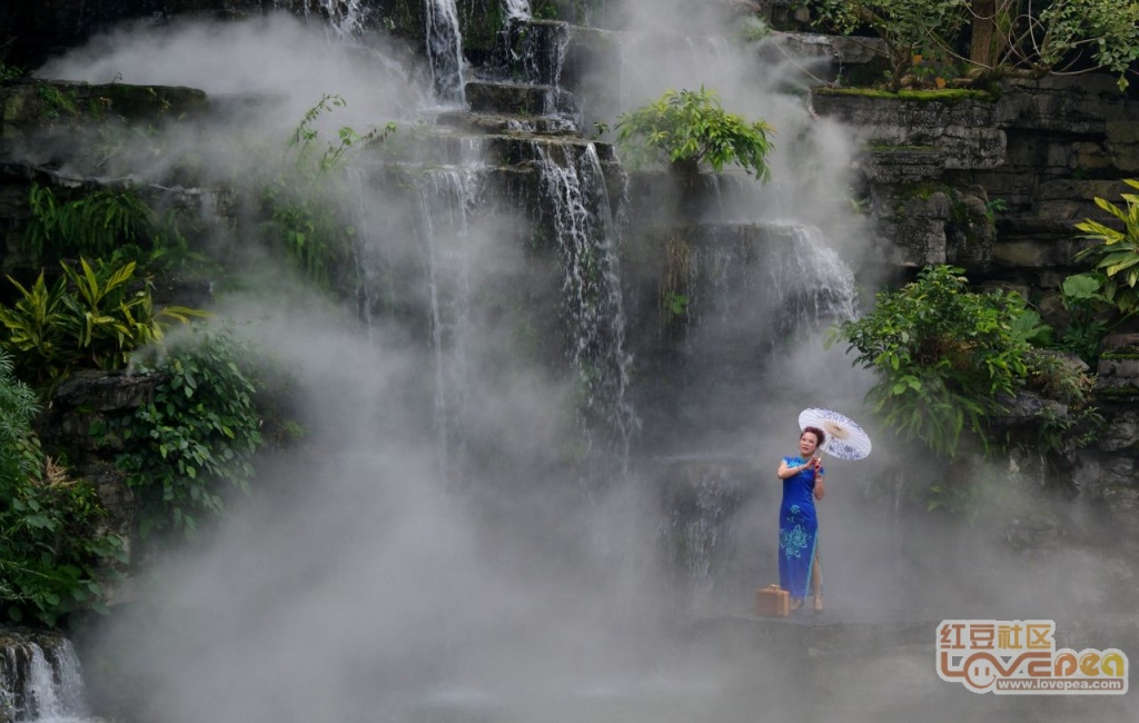 柳侯公园的人造雾