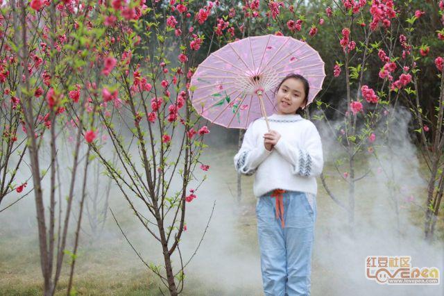 桃花林中的小美女