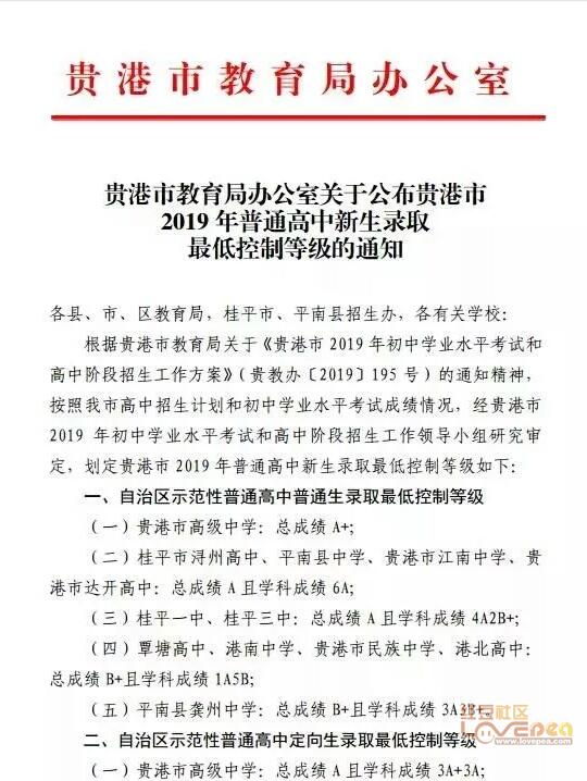 2019年贵港市普通高中录取分数线贵高A+浔高高中制服诱惑图片