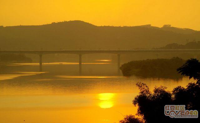 夕阳,柳江双线铁路桥